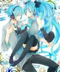 aqua_hair detached_sleeves genderswap hatsune_miku hatsune_mikuo headphones headset highres hiyoyogi long_hair skirt smile teen thigh-highs thighhighs twintails very_long_hair vocaloid zettai_ryouiki