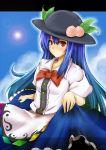 blue_hair blush bow food fruit hat highres hinanawi_tenshi long_hair oktbatch peach purple_hair red_eyes skirt smile solo touhou