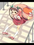 bag bakemonogatari bandaid blush_stickers brown_hair hachikuji_mayoi koflif long_hair monogatari_(series) paws pigeon-toed pigeon_toed randoseru red_eyes smile snail stairs twintails