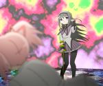 akemi_homura black_hair blurry checkered checkered_floor crutch depth_of_field hair_flip kaname_madoka kou-oboro long_hair magical_girl mahou_shoujo_madoka_magica multiple_girls pantyhose parody purple_eyes ultra_series ultraman_leo_(series) violet_eyes witch's_labyrinth