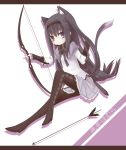 akemi_homura animal_ears arrow black_hair bow_(weapon) cat_ears cat_tail hair_flip kemonomimi_mode letterboxed long_hair magical_girl mahou_shoujo_madoka_magica pantyhose purple_eyes shadow simple_background sitting solo tail violet_eyes weapon yamino_haruka