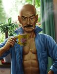 abs bald cigarette cup facial_hair jewelry male matataku mustache necklace open_clothes original pig plant ring solo wrinkled_skin