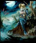 bandage bandages blonde_hair disguise harp instrument lake moon night nintendo ocarina_of_time outdoors red_eyes reverse_trap river scarf sheik solo surcoat the_legend_of_zelda water windowboxed yumeshima_sui