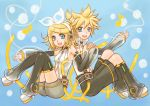 aqua_eyes back_to_back blonde_hair choker detached_sleeves hair_bow hairclip headphones highres holding_hands kagamine_len kagamine_len_(append) kagamine_rin kagamine_rin_(append) leg_warmers len_append musical_note nail_polish navel navel_cutout open_mouth popped_collar rin_append see_through short_hair shorts vocaloid vocaloid_append