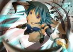 blue_eyes blue_hair cape gloves magical_girl mahou_shoujo_madoka_magica miki_sayaka onaka_sukisuki short_hair sword thigh-highs thighhighs weapon