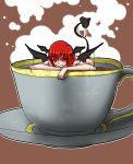 bakuya bat_wings cup demon_tail food girl_in_food head_wings in_food koakuma minigirl nude red_eyes red_hair redhead solo submerged tail teacup the_embodiment_of_scarlet_devil touhou wings
