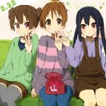 black_hair brown_eyes brown_hair casual gift happy_birthday hirasawa_ui k-on! long_hair nakano_azusa nasuna overalls ponytail red_eyes short_hair sitting suzuki_jun sweater thigh-highs thighhighs twintails v
