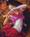 bishoujo_senshi_sailor_moon black_hair elbow_gloves gloves hino_rei k-bose k-bose_(artist) long_hair magical_girl ofuda realistic red sailor_mars sailor_moon solo very_long_hair