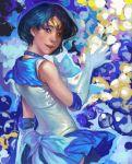 bishoujo_senshi_sailor_moon blue blue_eyes blue_hair choker elbow_gloves gloves k-bose k-bose_(artist) looking_back magical_girl mizuno_ami realistic sailor_mercury sailor_moon short_hair solo tiara