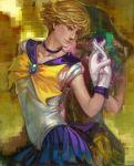 bishoujo_senshi_sailor_moon blonde_hair choker gloves hand_holding holding_hands k-bose k-bose_(artist) kaiou_michiru magical_girl multiple_girls realistic sailor_moon sailor_neptune sailor_uranus short_hair ten'ou_haruka tiara wink