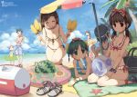 6+girls ^_^ ball beach beach_umbrella beachball bikini blanket bow cleavage closed_eyes clothes_grab cooler corn crab crustacean diving_mask down_blouse frilled_bikini frills harem innertube legs lena lena_(zoal) mouth_hold multiple_girls object_on_head ocean one-piece_swimsuit original popsicle sandals shade short_hair smile starfish string_bikini sunglasses sunglasses_on_head swim_trunks swimsuit swimsuits