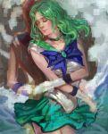 bishoujo_senshi_sailor_moon choker closed_eyes gloves green_hair hand_holding holding_hands k-bose k-bose_(artist) kaiou_michiru long_hair magical_girl multiple_girls realistic sailor_moon sailor_neptune sailor_uranus ten'ou_haruka wavy_hair