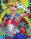 bishoujo_senshi_sailor_moon blonde_hair blue_eyes double_bun elbow_gloves gloves k-bose k-bose_(artist) magical_girl realistic sailor_moon solo tsukino_usagi twintails v