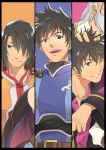 ayumiso beard black_hair damuron_atomaisu don_whitehorse facial_hair green_eyes male multiple_boys multiple_persona open_mouth raven raven_(tov) schwann_oltorain spoilers stubble tales_of_(series) tales_of_vesperia white_hair wink