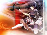 black_hair bloody_rondo game_cg kamizu_sayaka long_hair maid purple_eyes sakaki_maki violet_eyes weapon
