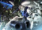 battle cannon claws damaged debris earth gundam gundam_0083 mecha planet platin_(alios) science_fiction space tagme