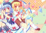 2girls :3 alternate_costume balloon black_legwear blonde_hair blue_hair bow capelet cat flandre_scarlet hair_bow hat kneehighs leg_warmers looking_at_viewer multiple_girls necktie open_mouth pf red_eyes remilia_scarlet school_uniform shirt short_sleeves siblings side_ponytail sisters skirt smile touhou white_legwear