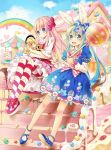 animal_ears blush candy dress food_themed_clothes lollipop multiple_girls original rainbow rocky_(chendongjian) striped striped_legwear striped_thighhighs thigh-highs thighhighs