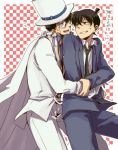 blue_eyes brown_hair cape detective_conan formal gloves hat hug hug_from_behind kaito_kid kudou_shin'ichi kudou_shinichi kuroba_kaitou looking_back male meitantei_conan monocle multiple_boys necktie school_uniform smile square suit sweat top_hat translation_request yaoi ydk007