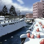 bride city matataku no_humans original path pig power_lines river snow train tree water winter