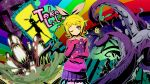 at_the_mountains_of_the_madness blonde_hair book cthulhu_mythos glowing_eyes green_eyes green_hair hair_bow hair_ornament hair_ribbon hairclip hatsune_miku highres kagamine_len kagamine_rin lovecraft maxgonta monster necronomicon pleated_skirt rainbow ribbon sailor_collar shoggoth short_hair skirt smile stairs suit sweater_vest tentacle tentacles twintails vocaloid wink
