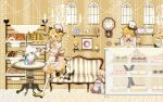 apron bird blonde_hair blue_eyes cake chef_hat clock dessert doughnut food french_bread hairclip kagamine_len kagamine_rin mary_janes neck_ribbon open_mouth plush short_hair smile sofa stripes table thigh_highs vocaloid wrist_cuffs yellow