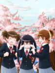 brown_hair cherry_blossoms closed_eyes eyes_closed graduation highres hirasawa_ui k-on! long_hair muta muta_(munimuni) nakano_azusa ponytail school_uniform short_hair suzuki_jun tears twintails