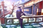 blue_eyes book clouds coat glasses hat kaito lens_flare river scarf scenery snow solo tree vocaloid