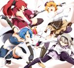 akemi_homura bad_anatomy bad_perspective bare_shoulders beret black_hair black_legwear black_thighhighs blonde_hair blood blue_eyes blue_hair boots breasts cape drill_hair gun hair_ornament hair_ribbon hairband hat highres kyubey kyuubee large_breasts long_hair magical_girl magical_musket mahou_shoujo_madoka_magica miki_sayaka multiple_girls pantyhose pleated_skirt ponytail puffy_sleeves purple_eyes red_eyes red_hair redhead ribbon sakura_kyouko short_hair skindentation skirt thigh-highs thighhighs tomoe_mami umakatsuhai violet_eyes weapon yellow_eyes