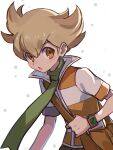 1boy :o bag bangs barry_(pokemon) blonde_hair blush brown_bag commentary_request eyebrows_visible_through_hair green_scarf hair_between_eyes holding_strap looking_at_viewer male_focus open_mouth orange_eyes pokemon pokemon_(game) pokemon_dppt scarf short_hair short_sleeves shoulder_bag solo tongue tpi_ri white_background