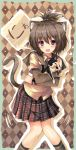 blue_eyes blush brown_hair cat cat_ears cat_tail checkered checkered_background dreamlight2000 heart high_ponytail highres hug open_mouth original ponytail purple_eyes school_uniform short_hair skirt smile solo tail violet_eyes
