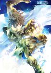 armor blue_eyes brown_hair clenched_hands fist hanei highres leo_regulus male saint_seiya saint_seiya:_the_lost_canvas solo