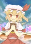 blonde_hair blush book bunchou_(bunchou3103) dress fang flandre_scarlet hands_on_chest hands_on_own_chest hands_to_chest hat highres lake midriff mountain red_dress red_eyes reflection side_ponytail sky slit_pupils smile solo star_(sky) the_embodiment_of_scarlet_devil touhou vampire wings