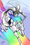 armor blazblue glowing_eyes hakumen highres horn long_hair manly multicolored_hair rainbow robot robot_unicorn_attack silver_hair source_request sword unicorn weapon