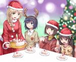 4girls amputee antlers cake christmas food hat multiple_girls original reindeer_antlers santa_costume santa_hat yuyuzuki_(yume_usagi)