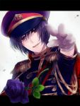 aiguillette axis_powers_hetalia epaulettes flower gloves hat hazuki_tooya japan_(hetalia) male masyax2 military military_uniform purple_eyes purple_hair solo uniform violet_eyes
