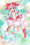 :o bow bubble_skirt colored_pencil_(medium) dress gloves hair_bow kaname_madoka kyubey kyuubee magical_girl mahou_shoujo_madoka_magica mosho pink_hair rainbow red_eyes shoes short_hair traditional_media twintails watercolor_(medium) white_gloves