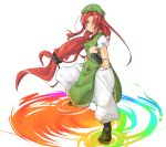 alternate_eye_color bad_id braid clenched_hands fighting_stance fist frown hado hat highres hong_meiling long_hair magic pants payot rainbow red_eyes red_hair redhead shoes solo touhou very_long_hair wrist_cuffs