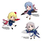 adapted_costume airplane blonde_hair blue_eyes blue_hair braid flandre_scarlet highres izayoi_sakuya jet knife maid_headdress military military_uniform multiple_girls no_hat no_headwear red_eyes remilia_scarlet ribbon sakurato_tsuguhi short_hair side_ponytail silver_hair simple_background throwing_knife touhou twin_braids uniform weapon