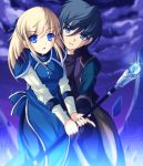 1girl black_hair blonde_hair blue_eyes cloud clouds coat couple dress enoo gensou_suikoden gensou_suikoden_iii gloves green_eyes hair_ornament hairpin hand_on_shoulder jewelry long_hair long_sleeves luc magic pointing sarah_(suikoden) staff suikoden suikoden_iii wand