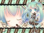 blue_eyes blue_hair boots bow chibi detached_sleeves gloves hair_ribbons hatsune_miku headphones headset heart messenger_bag musical_note necktie scarf skirt star twintails vocaloid