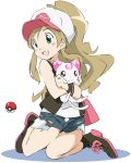 1girl baseball_cap blush brown_hair cosplay face green_eyes hammy hat hummy_(suite_precure) long_hair minamino_kanade open_mouth poke_ball pokemon pokemon_(game) pokemon_black_and_white pokemon_bw ponytail precure short_shorts shorts simple_background smile suite_precure touko_(pokemon) touko_(pokemon)_(cosplay) umanosuke