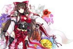 adapted_costume adult armor armored_dress bow breasts brown_hair cleavage cleavage_cutout detached_sleeves floral_background flower hair_bow hair_ornament hair_tubes hairpin hakurei_reimu large_breasts long_hair miko mugen_houteishiki mugenshiki obi red_eyes sideboob solo sword thigh-highs thighhighs touhou weapon yin_yang