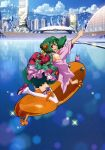 absurdres building city detached_sleeves fang green_hair highres japanese_clothes kimono macross macross_frontier macross_frontier:_itsuwari_no_utahime open_mouth ranka_lee red_eyes science_fiction see-through short_hair smile solo thigh-highs thighhighs