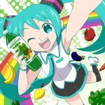 :d aqua_eyes aqua_hair arm_up armpits banana bell_pepper bracelet carrot eggplant face flat_chest food foreshortening fruit hatsune_miku holding jewelry lemon long_hair nail_polish necktie open_mouth poppippoo_(vocaloid) rainbow skirt smile solo sunafuki sunafuki_tabito thigh-highs thighhighs tomato twintails vegetable_juice very_long_hair vocaloid wink