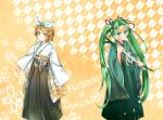 2girls artist_request blonde_hair blue_eyes blush green_eyes green_hair hair_bow hatsune_miku japanese_clothes kagamine_rin leek long_hair smile standing twintails vocaloid
