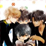 black_cloth black_clothe black_clothes black_eyes black_hair blonde_hair blue_eyes book brown_hair creator_connection dark_skin detective_conan grey_eyes hakuba_saguru hattori_heiji kudou_shin'ichi kudou_shinichi kuroba_kaitou magic_kaito male meitantei_conan multiple_boys nail_polish necktie pointing reading red_eyes saguru_hakuba short_hair simple_background smile sweatdrop tennen_hz white_fingernails