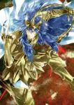 armor blue_eyes blue_hair bracer cape fingerless_gloves glint gloves grin hanei helmet long_hair saint_seiya saint_seiya:_the_lost_canvas scorpio_kardia smile solo
