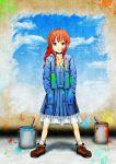 blue_eyes breasts bucket cleavage footwear hands_in_pockets highres long_hair oekaki_musume original paint paint_bucket paint_stains red_eyes socks solo tk8d32