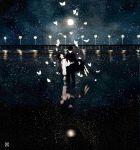 1boy 1girl artist_name black_hair bridge butterfly carrying death gakuran hat kurohal long_hair night original reflection sad scenery school_uniform serafuku star water